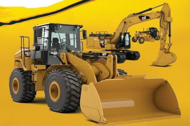 three cat machines with a yellow background.