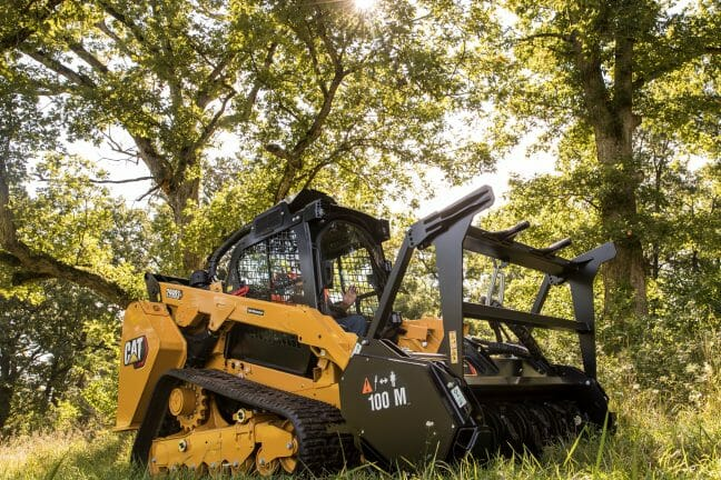 cat machine in the middle of the forest with a large attachment on the front and the sun coming through the trees