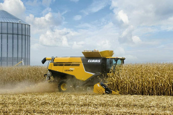 CLAAS 700 Series Track Combine in Field