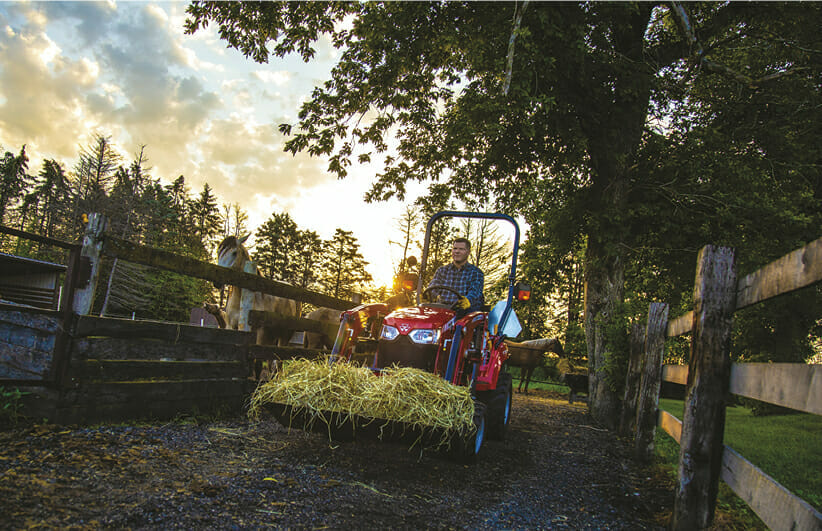 mad using a red massy ferguson sub compact tractor to lay hay